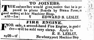 Fire engine advertisement by E.S. Lesley from Tuesday, August 30 1843 Newburyport Herald, page 4