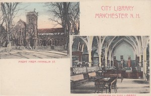 1906 postcard of the Manchester City Library on Franklin Street.