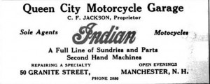 1915 Advertisement in the Manchester City Directory of Queen City Motorcycle Garage located at X Street.