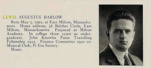 1923 Harvard University Yearbook: Lewis A. Harlow