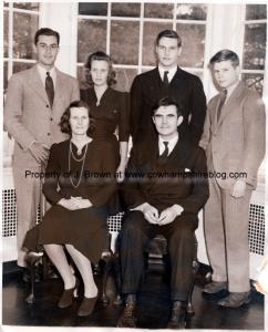 The John G. Winant family in February of 1941. Constant (Russell) Winant and John G. Winant seated. Standing (L to R), Mr. & Mrs. Carlos Velando, John G. Winant Jr. and Revington R. Winant.