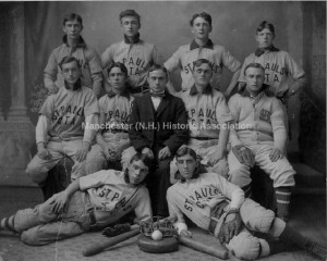 St. Paul's Christian Temperance Association even had a Baseball Team, as pictured here in this undated group portait. From the Manchester Historic Association Photoprint Collection. Used with Permission.