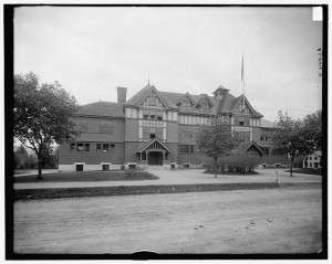 Concord Massachusetts High School, dry plate negative, Detroit Publishing Company, circa 1900-1910; Library of Congress Prints & Photographs Division