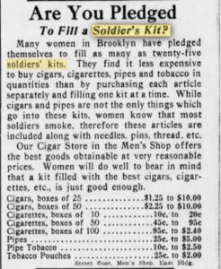 The Brooklyn Daily Eagle of 1918 touted tobacco products to include in a soldier's kit.