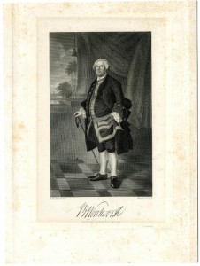 Engraving, portrait of Benning Wentworth (1696-1770). Engraved by Stephen A. Schoff. New Hampshire Historical Society Collection