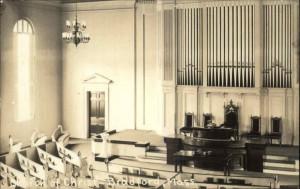 Old postcard, interior of Church of Christ, Bradford MA