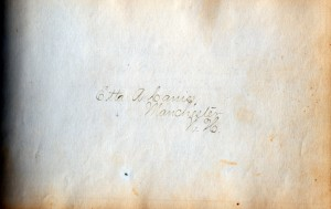 Signature of Etta Canis, owner of the 1873 Autograph Book written about here