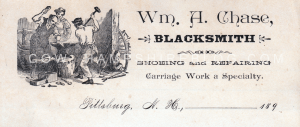 A scan of actual stationery used by William A. Chase of Pittsburg for his Blacksmith trade. Property of Janice Brown, do not use without her express written permission.