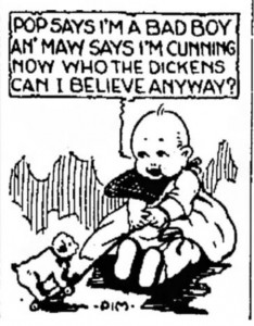 """Cartoon from Portsmouth Daily Times (Portsmouth Ohio) 12 June 1922, page 1. """"An Maw says I'm cunnin now who the dickens can I believe anyway?"""
