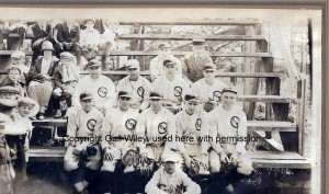 """St. Marie's Church baseball team of 1923.  Top row, left is Fred Clement.   A row down and to the far left, is his son, a curly-headed boy, Robert """"Curly"""" Clement."""