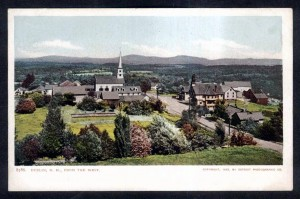 Old postcard showing main street of Dublin NH