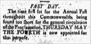 Fast Day notice in the New Hampshire Gazette newspaper April 1, 1797