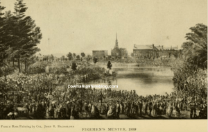Firemen's Muster 1859 in Manchester NH, from a rare painting by Col. John B. Bachelder.