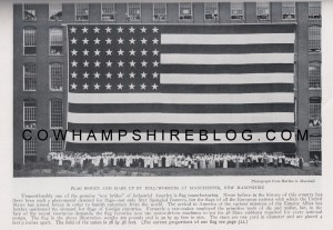 Flag women and made up by Mill-workers at Manchester NH.  Photograph from Harlan A. Marshall, as printed on page 411 of The National Geographic Magazine, October 1917.