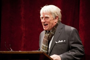 Gordon Clapp as Robert Frost performing in This Verse Business. Photo by Meghan Moore, located at The New England Theatre Geek Blog at http://www.netheatregeek.com/2011/10/30/this-verse-business-the-road-less-traveled-of-frosts-poetry/