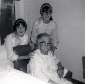 1967 Photograph of Addie (Ryan) Manning at the Hillsborough County Nursing Home, with granddaughters, Kathi and Janice Webster.