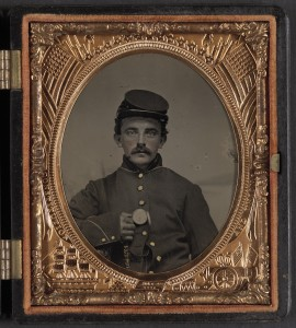 Unidentified Union Civil War soldier, possibly Private Florentine Ariosto Jones; Library of Congress Prints and Photographs Division, Washington, D.C.