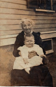 Photograph of Lydia (Swasey) Obear, probably with one of her grandchildren, taken before her death in January of 1919.