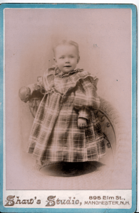 Mabel E. Shaw, 1 year old, taken by her father at Shaw Studio, Manchester NH