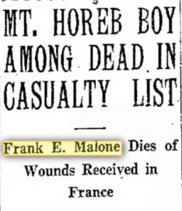 Malone Frank 1918 newspaper notice