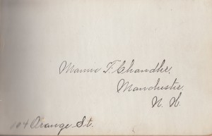 Mamie F. Chandler was kind enough to identify her autograph book.