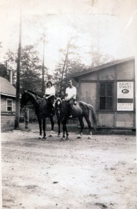 Horse back riding at Havey's Stables with friend (later Father)  John Connolly.