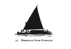 "Silhouette of Merrimack Gundalow; From ""Shipping & craft in silhouette; drawing and text by Charles G. Davis, 1929, page 57, Hathi Trust"