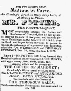 """Notice in the New Hampshire Patriot <br> and State Gazette of 29 December <br> 1823 announcing """"Mr. Potter."""""""