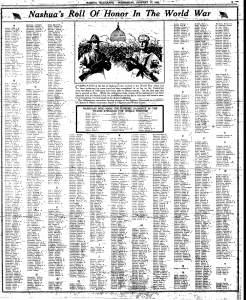 Nashua's Roll of Honor - those who died and those who served in WWI from Nashua Telegraph dated