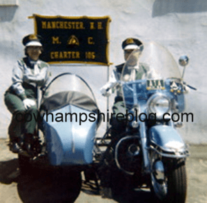 An undated photograph of Pete & Louise Forest with the Manchester Motorcycle Club banner behind them. Photographs, courtesy of Pat Rivard (granddaughter of Gladys and Gilbert Perro).