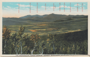 Old Postcard of the Presidential Range, White Mountains New Hampshire still showing Mt. Pleasant (now Mt. Eisenhower) and Mt. Clinton (now Mt. Pierce).
