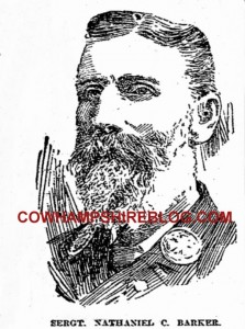 A sketch of Sergeant Nathaniel C. Barker from Boston Herald (Boston MA), Thursday, October 14, 1897, page 9.