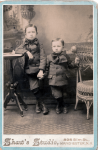 Johnnie D. Shaw age 7, Royal Shaw age 4. Photograph taken by their father Charles H. Shaw at his Manchester NH Photography Studio