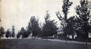 Old postcard of the town common in Unity, New Hampshire
