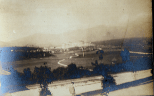 1905 Photograph taken from the Mt. Pleasant House (now gone) of the White Mountains.  The building in the far distance is the Mt. Washington Hotel (now the Omni-Mt. Washington Hotel)
