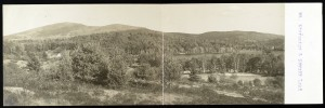 View of Mount Kearsarge and Keyser/Kezar Lake from North Sutton NH; panoramic postcard, J.H. Johnson, Bradford NH c 1906; Library of Congress Prints and Photographs Division, Washington DC.