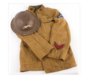 Example of a WWI US Army Postal Service TUnic & Brodie Helmet from Liveauctioneers