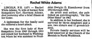 News clipping of Rachel (Adams) White's obituary