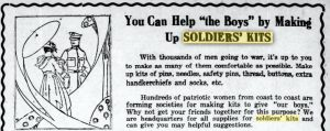 A Burlington Free Press newspaper notice of 1918 urging citizens to make soldier's kits.