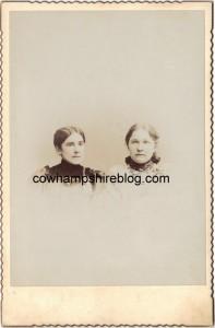 Photograph of Anna C. Fry and Laura Jane Fry, sisters, both daughters of Reuben & Sarah (Miller) Fry. Laura Jane married Joel H. Hesser.