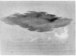 Sky showing lightning effects during storm of August 24, 1624, drawing, black chalk on brownish paper, Library of Congress Prints and Photographic Division