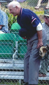 """Robert """"Curly"""" Clement at age 81, at his final appearance at the All Star Game for the Cape Cod Baseball League"""