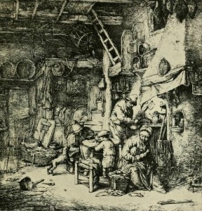 """Etching: """"The Family,"""" by Ostade. From """"Etchings,"""" by Frederick Wedmore, page 14 http://archive.org/stream/etchings00wedm#page/14/mode/2up"""