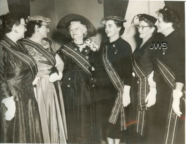 September 1954, new officers of Legion Auxiliary at Washinton D.C. -- from left to right MRS. ERNEST GLADU, Manchester NH, Eastern Division; Mrs. John Hunt, Fort Sanilac Michigan, Central Division; Mrs. Percy Lainson, National President; Mrs. A.J. Breaux, Beaumont Texas, Southern Division; Mrs. Sando Dorsett, Phoenix Arizona, Western Division; and Mrs. Crawford Mortenson, Ord., Nebraska, Northwestern Division.