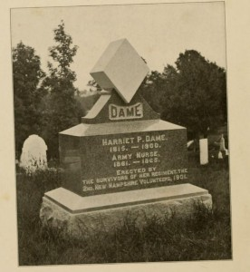 In 1901, survivors of her regiment, the 2nd NH Volunteers erected a tombstone at her grave. Photograph from Muster Out Roll of the Second New Hampshire Regiment in the War of the Rebellion, compiled my Martin A. Haynes, Company I, Lakeport NH, 1917