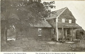 Old postcard, marked as Haunted House in Hollis, Wishing Well. From Cow Hampshire Blog