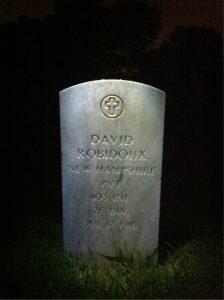 Photograph of David Robidoux's gravestone at Arlington National Cemetery.