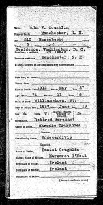 Death certificate of Col. John F. Coughlin (side 1 only)