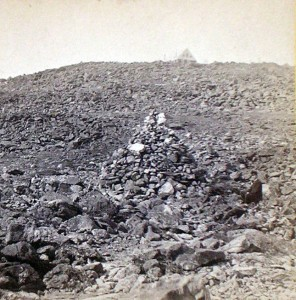 Photograph of Lizzie Bourne Monument on Mt. Washington, showing how close she was to the Tip Top House when she died.