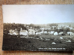 Old postcard, looking west New Boston NH.
